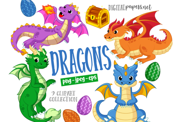 Print on Demand: Cute Dragons Graphic Illustrations By DigitalPapers