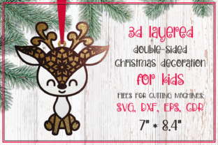 Print on Demand: Cute Deer. 3d Layered Christmas Ornament Graphic 3D Christmas By Olga Belova