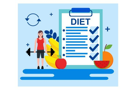 Print on Demand: Diet Plan Concept in Flat Style Graphic Illustrations By Redvy Creative