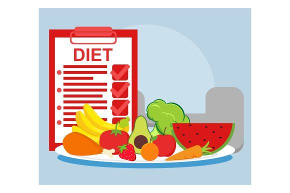 Print on Demand: Diet Program and Healthy Food in Flat Graphic Illustrations By Redvy Creative