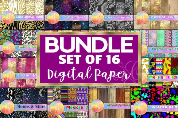 Digital Paper, Set of 16 Themes Bundle Graphic Backgrounds By paperart.bymc