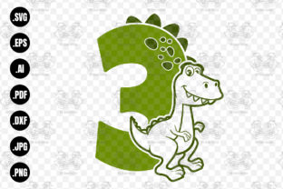 Print on Demand: Dinosaur Number 3, Birthday Number 3 Svg Graphic Crafts By 99SiamVector