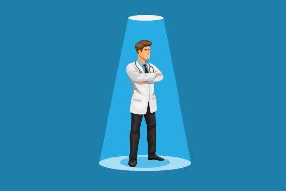 Print on Demand: Doctor Male Standing Under Spotlight Graphic Illustrations By aryo.hadi
