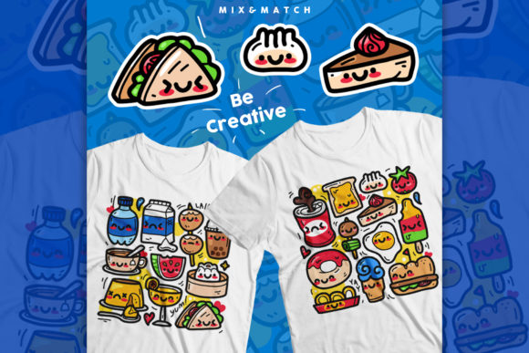 Food and Beverages Doodle Pack Graphic Illustrations By VitaminRGB
