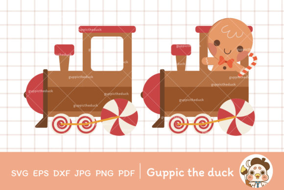 Gingerbread Train Clipart Graphic Illustrations By Guppic the duck