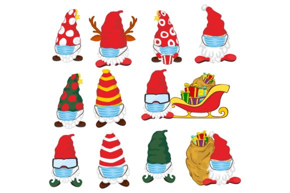 Print on Demand: Gnomes in Winter Wear Mask Clip Art Set Graphic Crafts By Arief Sapta Adjie