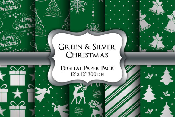 Print on Demand: Green and Silver Christmas Paper Pack Graphic Backgrounds By Party Pixelz