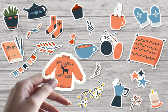 Print on Demand: Hygge Winter Printable Stickers Graphic Illustrations By nastiatrel