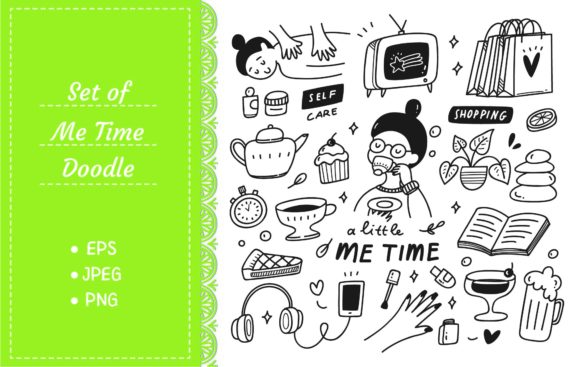 Me Time Concept Doodle Illustration Graphic Illustrations By Big Barn Doodles
