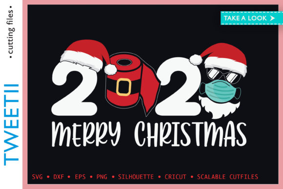 Print on Demand: Merry Christmas 2020 Mask Paper Roll Gráfico Crafts Por Tweetii