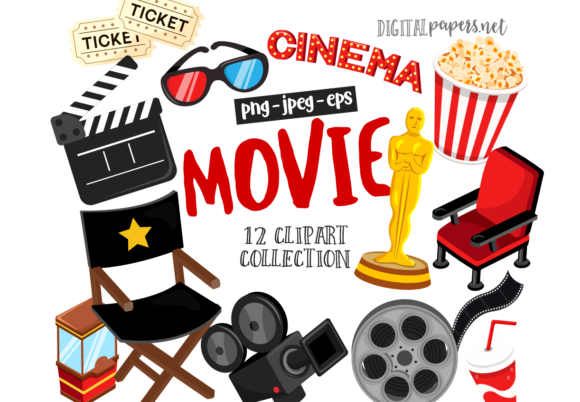 Print on Demand: Movie Night Clipart Graphic Illustrations By DigitalPapers