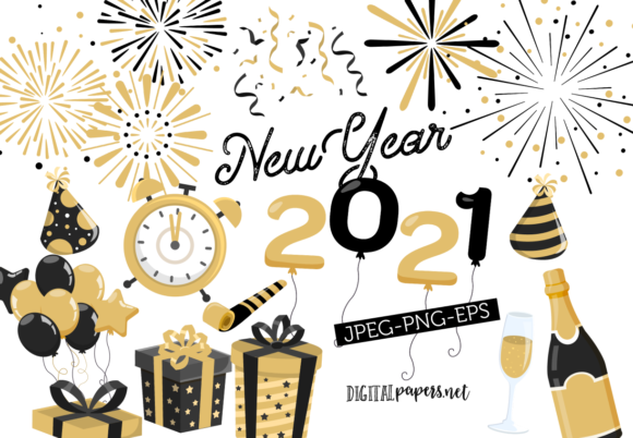 Print on Demand: New Year's Eve Graphic Illustrations By DigitalPapers
