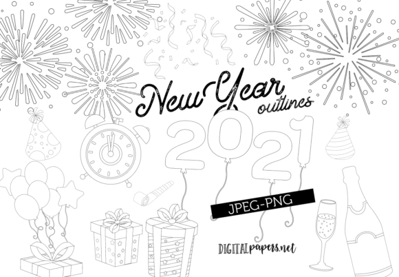 Print on Demand: New Year's Eve Outlines Graphic Illustrations By DigitalPapers