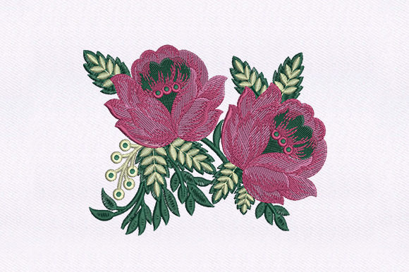 Pretty Pink Flowers Design Single Flowers & Plants Embroidery Design By DigitEMB