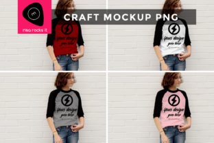 Raglan Tee Teen Model Craft PNG Mock Up Graphic Product Mockups By RisaRocksIt