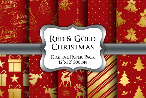 Print on Demand: Red and Gold Christmas Digital Papers Graphic Backgrounds By Party Pixelz