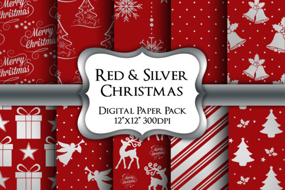 Print on Demand: Red and Silver Christmas Digital Papers Graphic Backgrounds By Party Pixelz