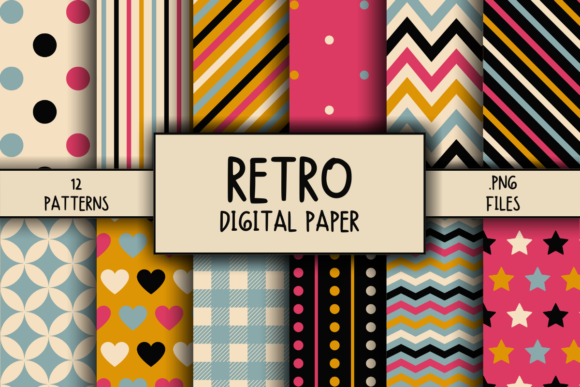 Print on Demand: Retro Pattern Digital Paper Graphic Patterns By atlasart