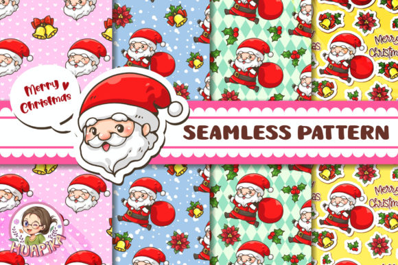 Seamless Pattern Cute Cheerful Santa2 Graphic Patterns By huapika
