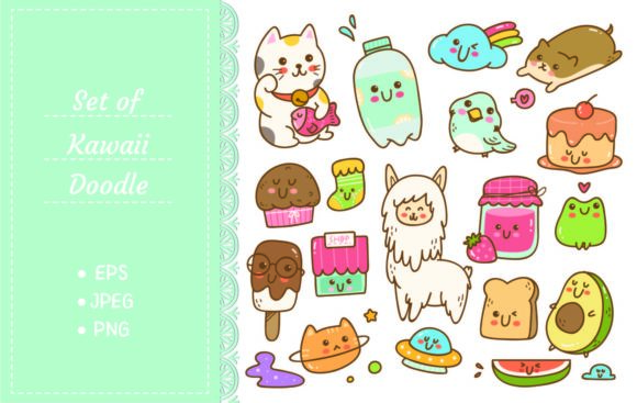 Set of Kawaii Doodle Vector Illustration Graphic Illustrations By Big Barn Doodles