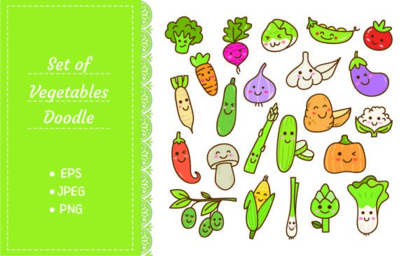 Set of Kawaii Vegetables Graphic Illustrations By Big Barn Doodles