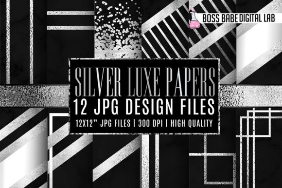 Print on Demand: Silver Luxe Black Marble Digital Paper Graphic Textures By bossbabedigitallab