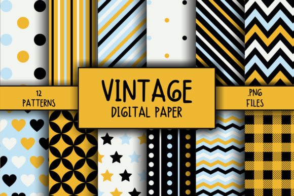 Print on Demand: Vintage Pattern Digital Paper Graphic Patterns By atlasart