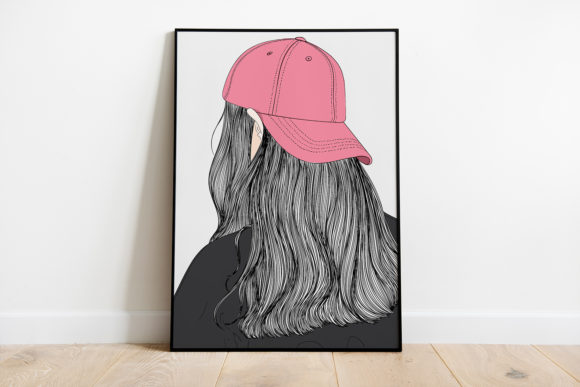 Print on Demand: Wall Art Long Haired Girl Wearing a Hat Graphic Illustrations By Saydung89