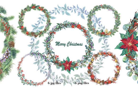 Watercolor Christmas Wreath Clipart. Graphic Illustrations By EvArtPrint