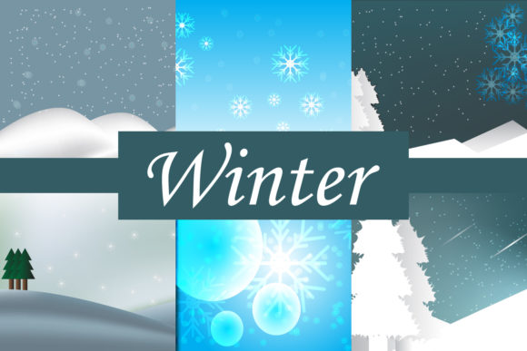 Print on Demand: Winter Landscape Backgroound Graphic Backgrounds By Mahesa Design