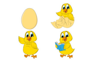 Print on Demand: Cute Chick Animal Cartoon Graphic Illustrations By curutdesign