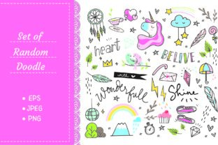 Set of Cute Hand Drawn Doodles Graphic Illustrations By Big Barn Doodles