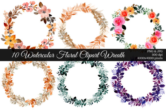Print on Demand: 10 Watercolor Floral Clipart Wreath Graphic Illustrations By asrulaqroni