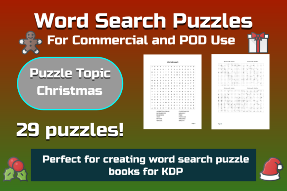 29 Christmas Theme Word Search Puzzles Graphic KDP Interiors By Take It And Teach