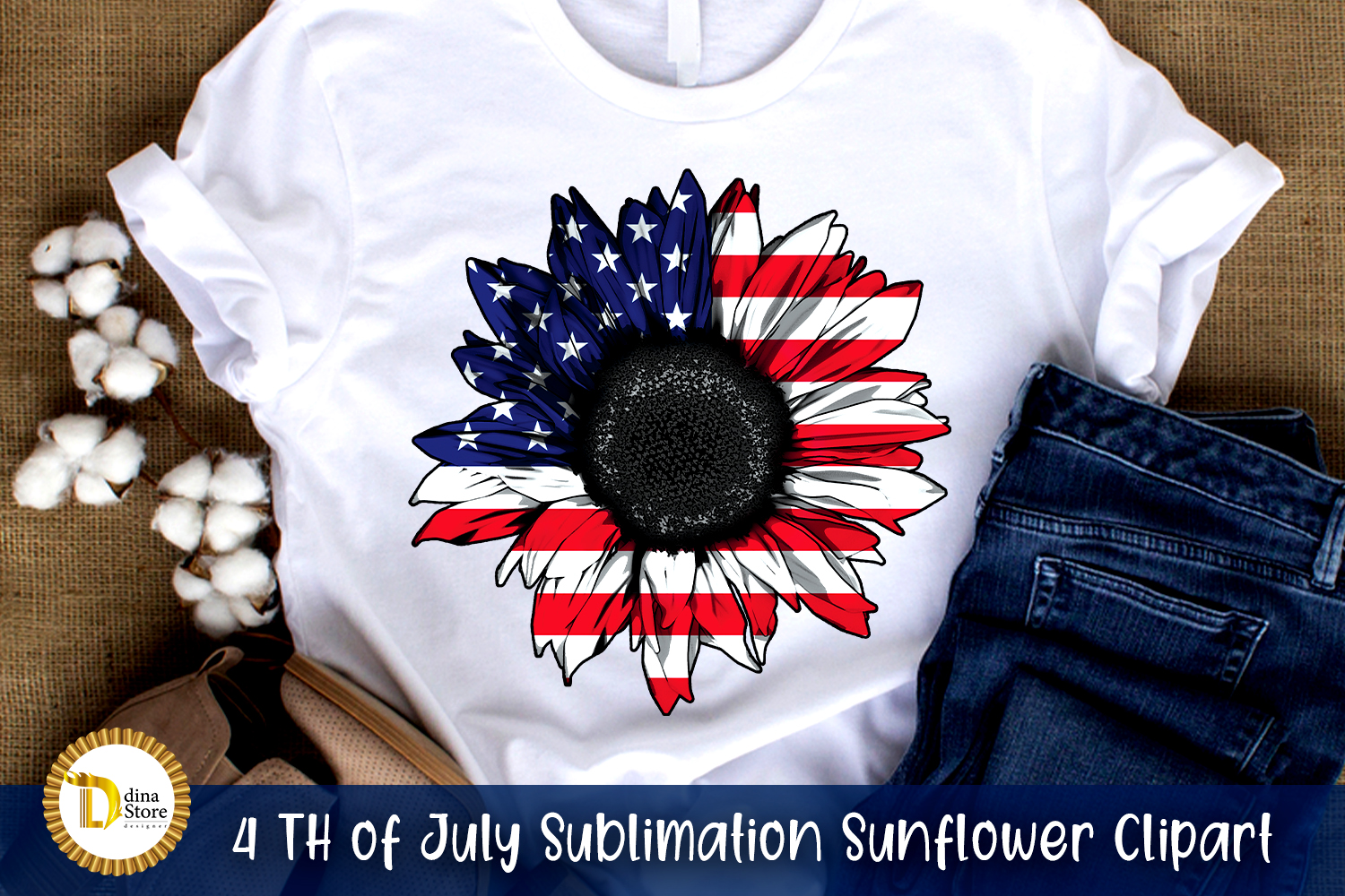 4 Th of July Sublimation Sunflower SVG File