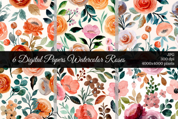 Print on Demand: 6 Digital Papers Roses Seamless Pattern Graphic Patterns By asrulaqroni