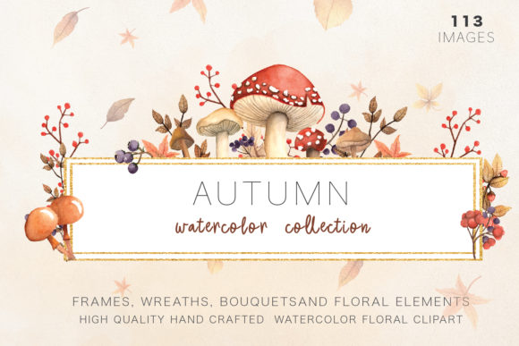 Autumn Watercolor Collection Graphic Illustrations By Antares