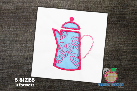 Beautiful Pink Coffee Pot Applique Kitchen & Cooking Embroidery Design By embroiderydesigns101