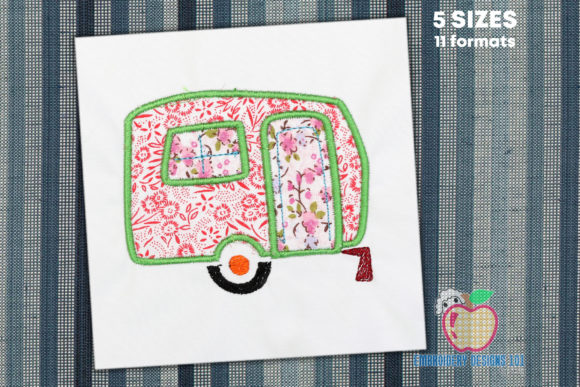 Brown Colored Campervan Applique Vacation Embroidery Design By embroiderydesigns101