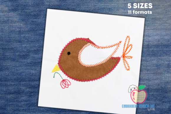 Cartoon Bird Holding a Leaf Applique Birds Embroidery Design By embroiderydesigns101