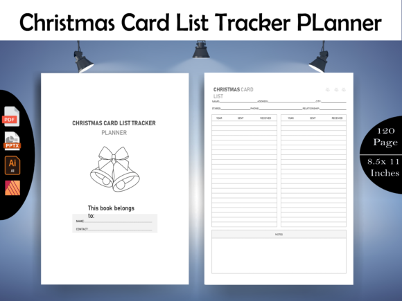 Print on Demand: Christmas Card LIst Tracker Planner-KDP Graphic KDP Interiors By KDP Megamind