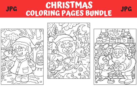 Print on Demand: Christmas Coloring Pages Bundle  By MyBeautifulFiles