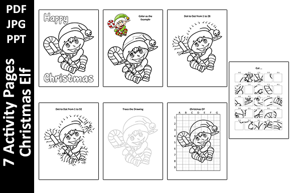 Christmas Elf - 7 Kids Activity Pages Graphic KDP Interiors By Oxyp
