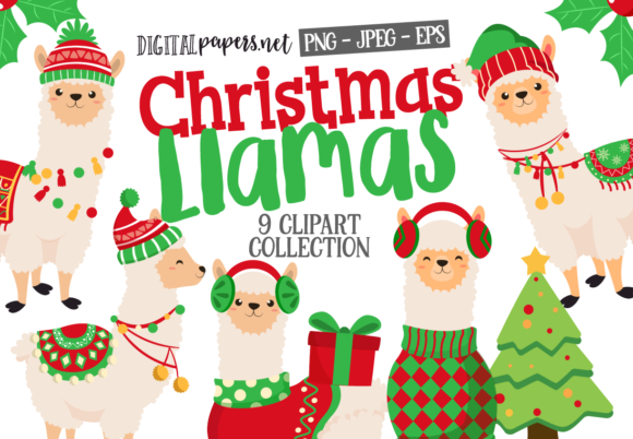 Print on Demand: Christmas Llamas Graphic Illustrations By DigitalPapers
