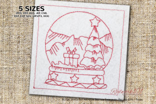 Christmas Tree in SnowGlobe Redwork Christmas Embroidery Design By Redwork101