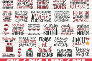 Christmas Wine SVG Bundle / Cricut Graphic Print Templates By ZecWorkshop