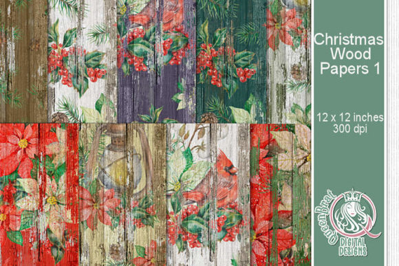 Print on Demand: Christmas Wood Papers 01 Graphic Backgrounds By QueenBrat Digital Designs