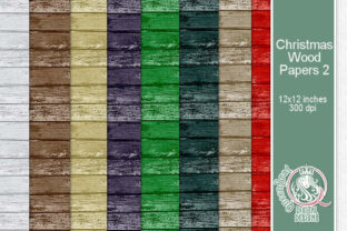 Christmas Wood Papers 02 Graphic Backgrounds By QueenBrat Digital Designs 1