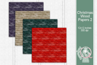 Christmas Wood Papers 02 Graphic Backgrounds By QueenBrat Digital Designs 2