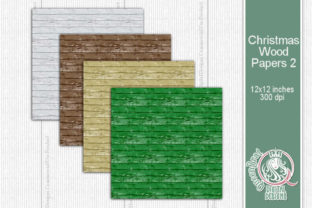 Christmas Wood Papers 02 Graphic Backgrounds By QueenBrat Digital Designs 3